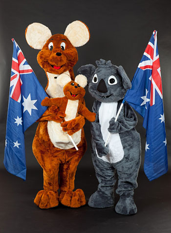 Cuddles the Koala and Hopper the Kangaroo